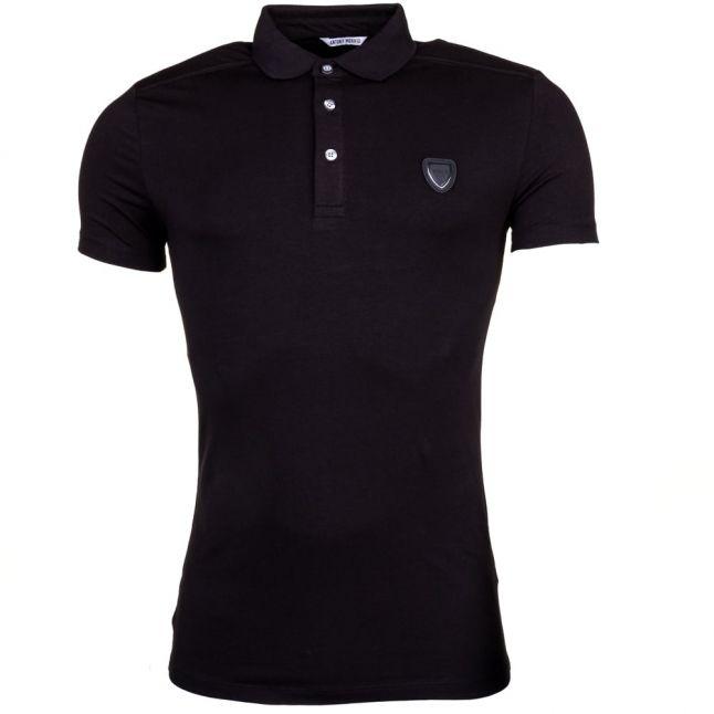 Mens Black Silver Label Shield S/s Polo Shirt
