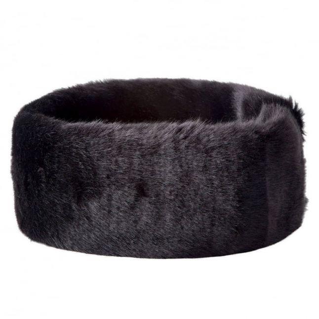 Womens Black Faux Fur Headband