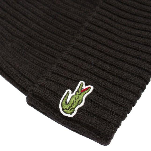 Mens Black Branded Roll Back Knitted Hat