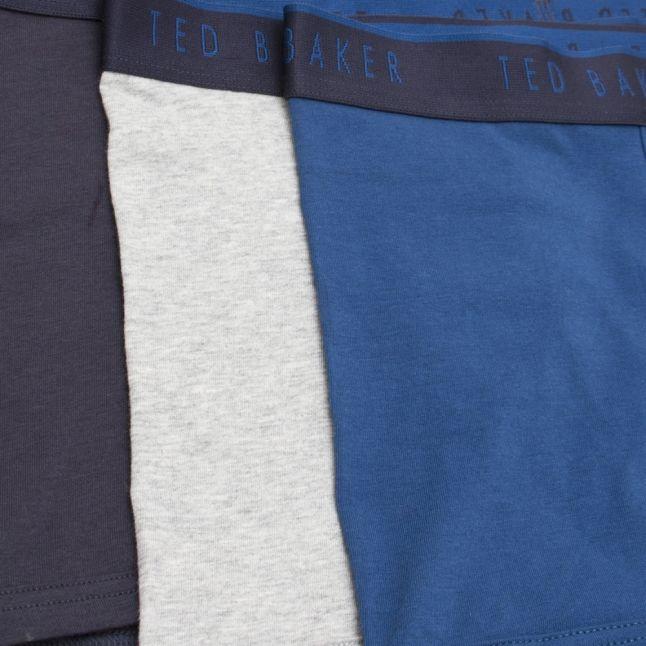 Mens Navy/Blue/Grey 3 Pack Cotton Trunks