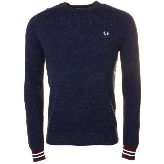 Mens Vintage Navy Textured Yarn Pique Knitted Jumper