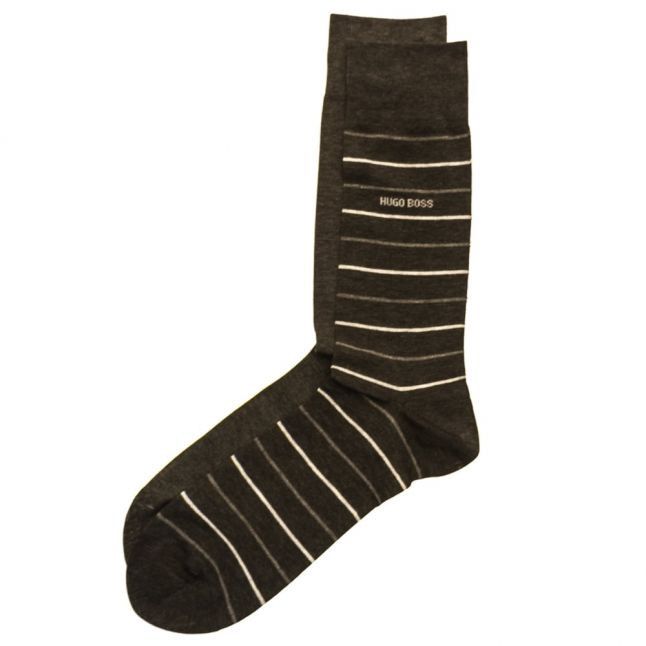 Mens Charcoal Two Pack Fine Stripe Socks (5-11)