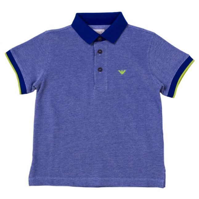Boys Blue Melange Contrast Collar S/s Polo Shirt