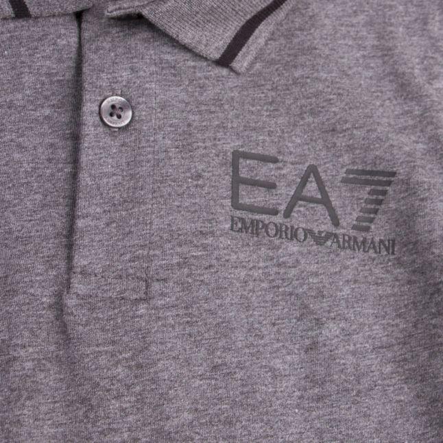 Boys Grey Tipped Logo S/s Polo Shirt