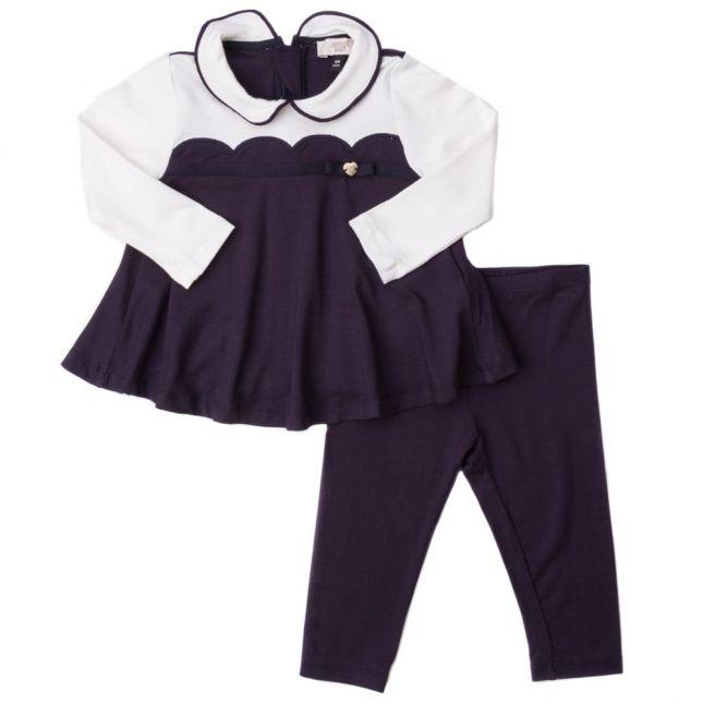 Baby Navy Scalloped Dress & Leggings Set