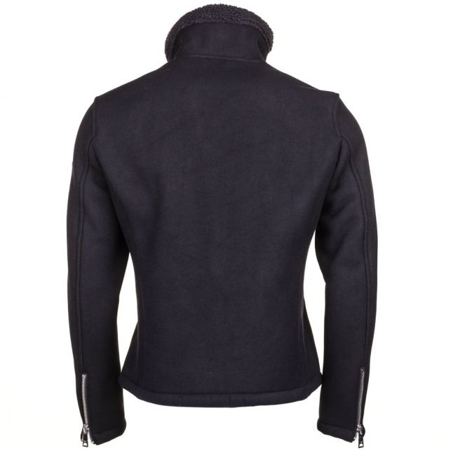Mens Navy Lined Wool Coat