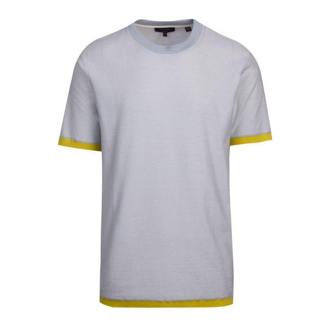 Mens Pale Blue Camoff Striped Ribstart S/s T Shirt