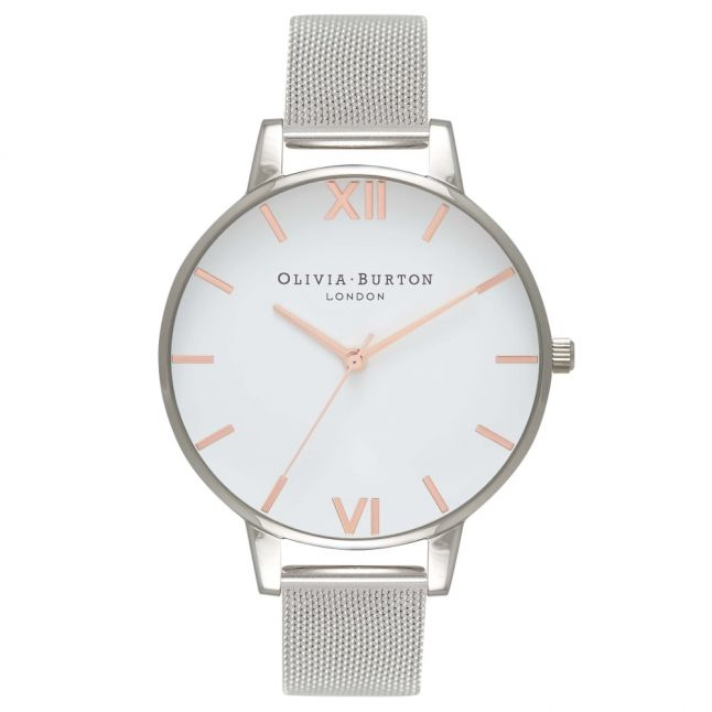 Womens Rose Gold/Silver White Dial Mesh Watch