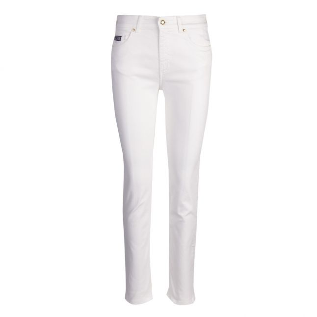 Womens White Printed Pocket Logo Slim Fit Jeans