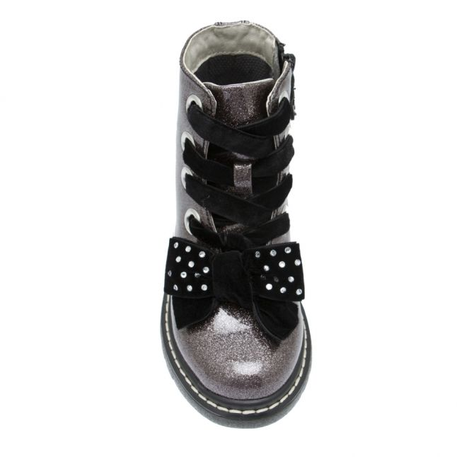 Girls Pewter Glitter Fior Di Fiocco Bow Boots (28-37)