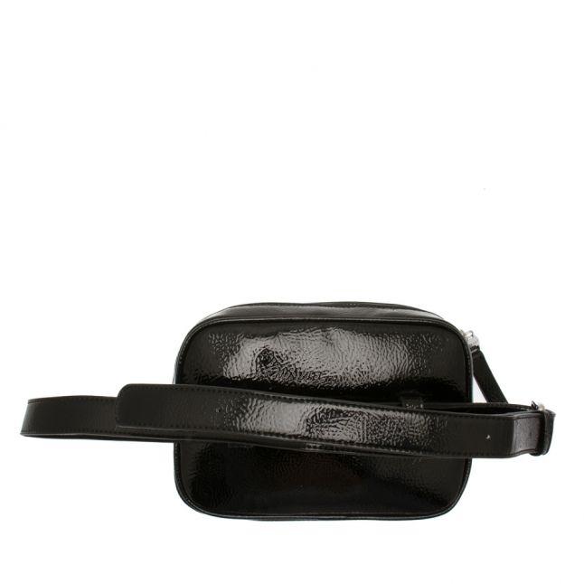 Womens Black Branded High Shine Belt Bag