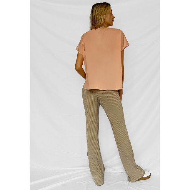 Womens Dusty Pink Crepe Light V Neck Top