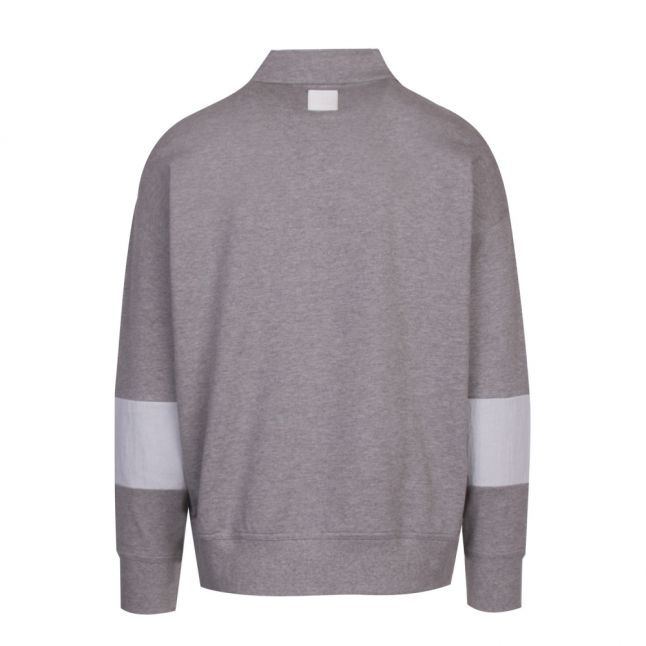 Casual Mens Light Grey Wolton Polo Collar Sweat Top