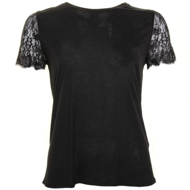 Womens Black Somsrii Lace Sleeve Top
