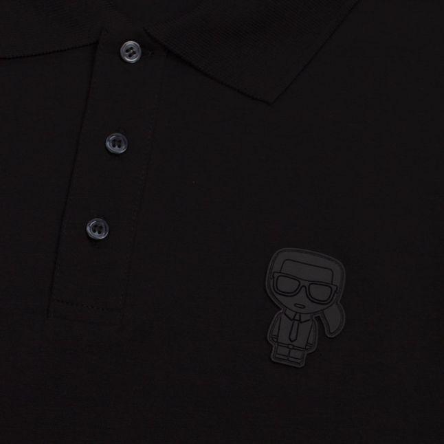 Mens Black Ikonik Patch S/s Polo Shirt