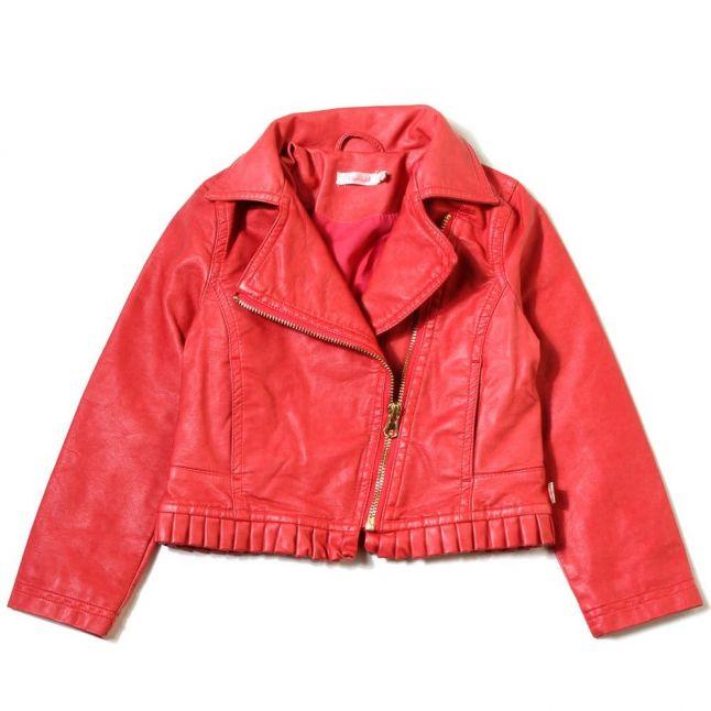 Girls Pink PU Frill Jacket