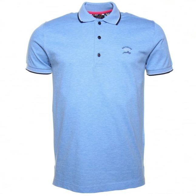 Paul & Shark Mens Sky Blue Tipped Shark Fit S/s Polo Shirt