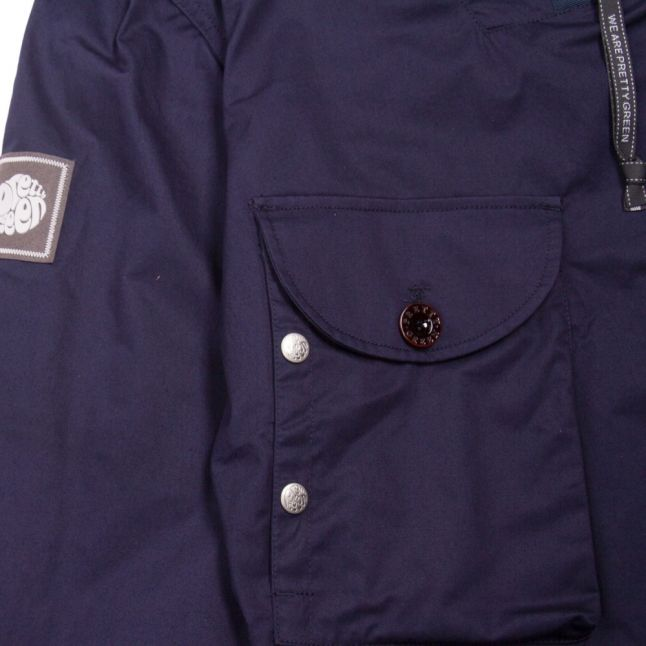 Mens Navy Overhead Hooded Jacket
