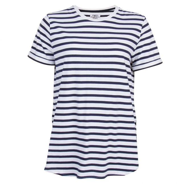 Heritage Womens White Striped S/s Tee Shirt