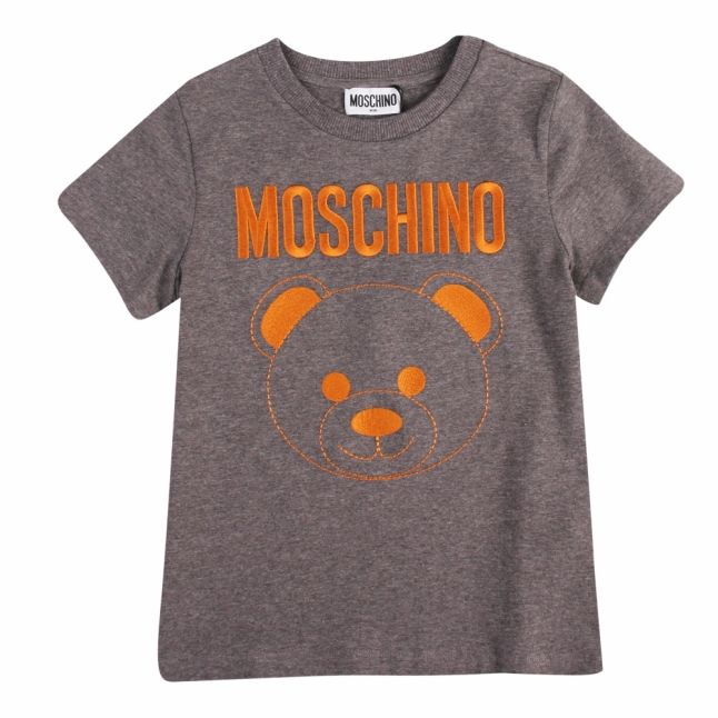 Boys Grey Melange Embroidered Toy S/s T Shirt