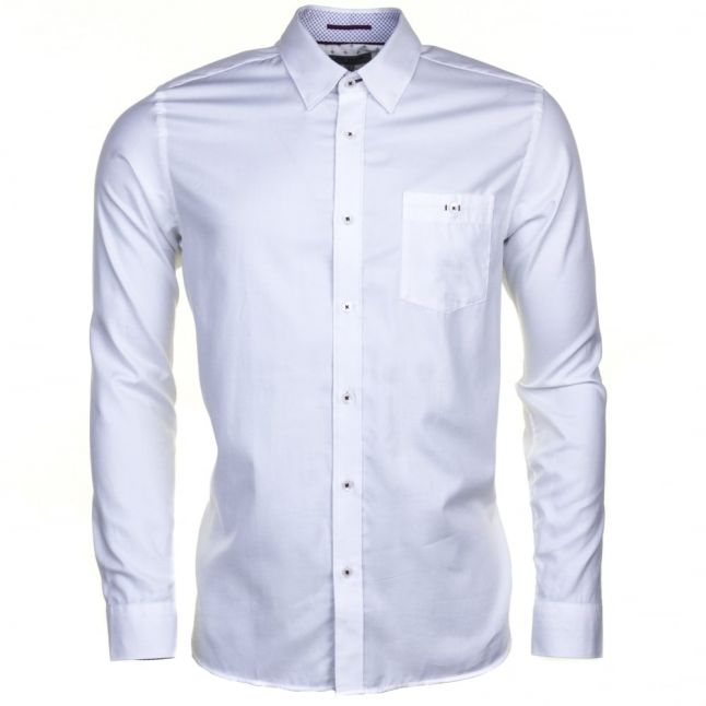 Mens White Themonk Oxford L/s Shirt