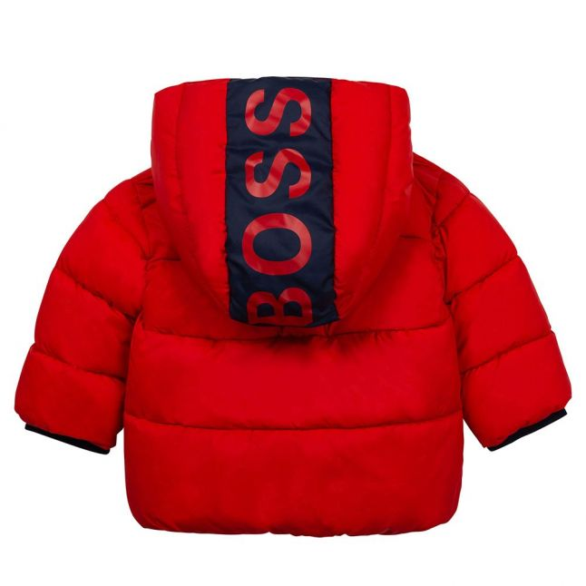 Toddler Red Logo Hooded Padded Jacket