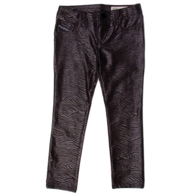 Girls Black Printed Speedjegg Jeans