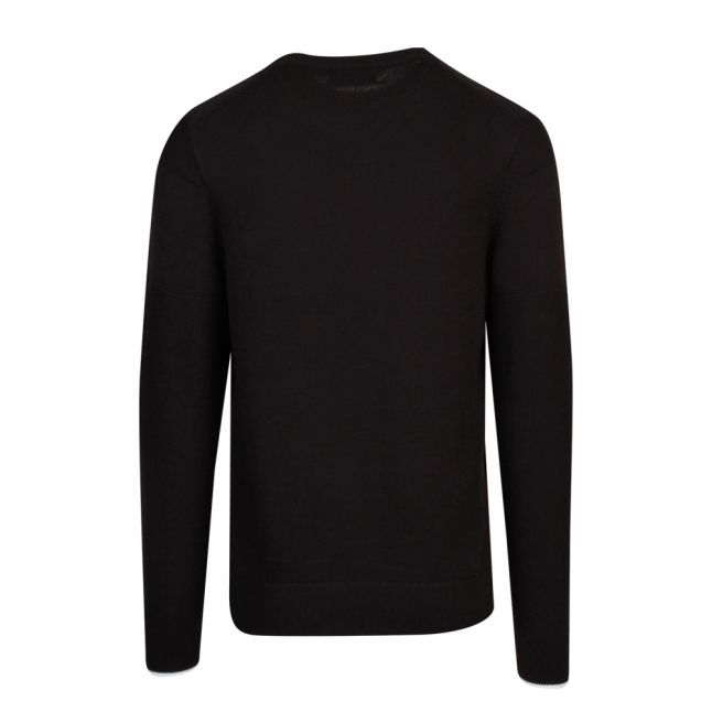 Mens Black Logo Crew Neck Knitted Jumper