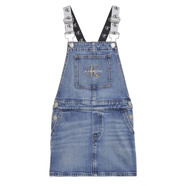 Girls Blue Monogram Dungaree Dress