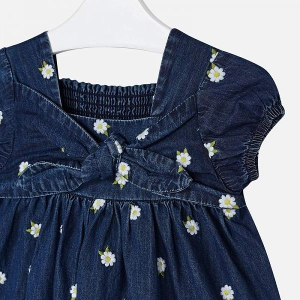 Girls Dark Blue Denim Daisy Bow Dress
