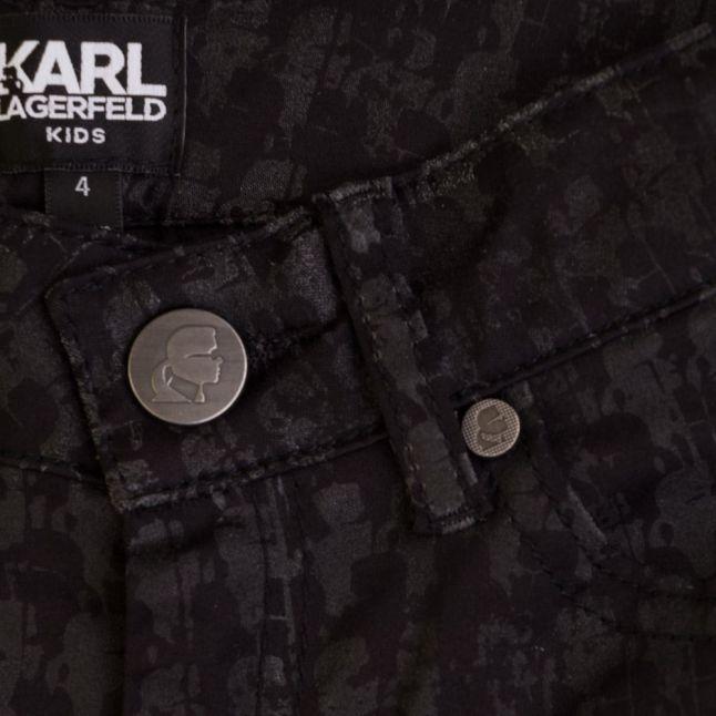 Girls Black Coated Karl Printed Pants