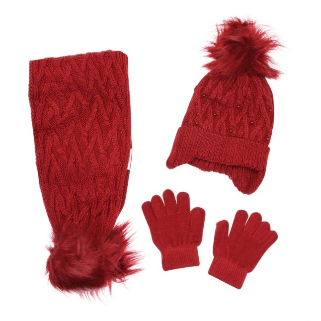 Girls Ruby Knitted Hat, Scarf & Gloves Set