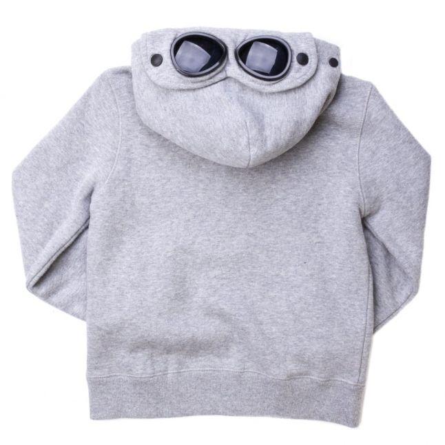 Grey Melange Goggle Hood Zip Through Sweat Top