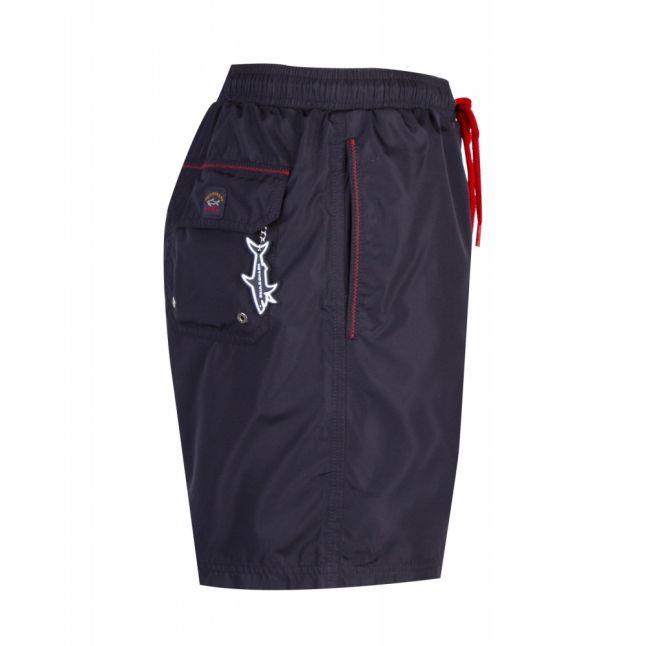 Mens Navy Branded Swim Shorts