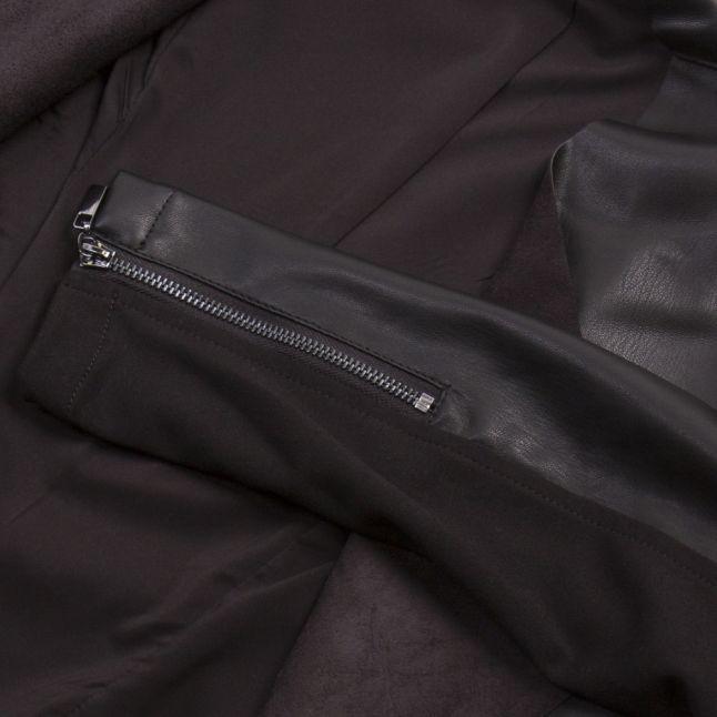 Womens Black Stephanie PU Waterfall Jacket