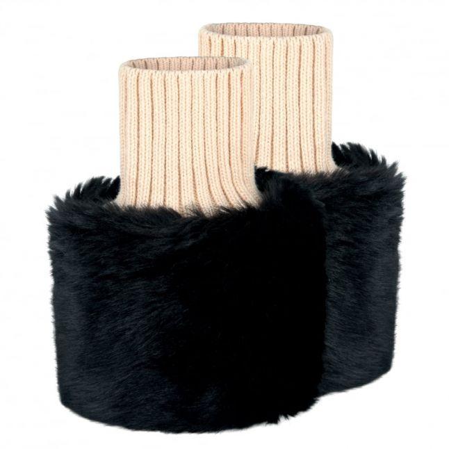 Womens Black Carton Faux Fur Arm Cuffs
