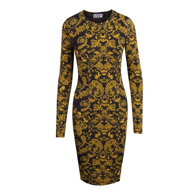 Womens Black Gold Paisley Print Midi Dress