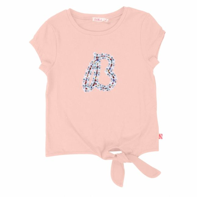 Girls Washed Pink Tie Front Embroidered S/s T Shirt