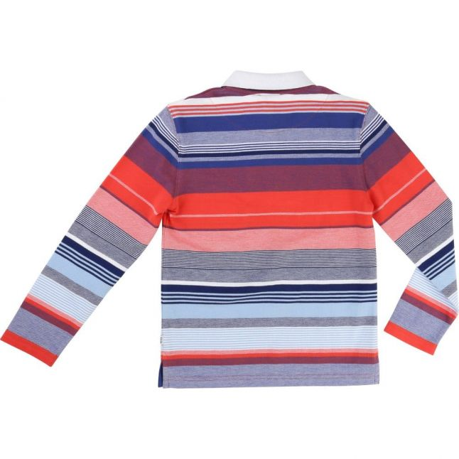 Boys Blue Striped L/s Polo Shirt