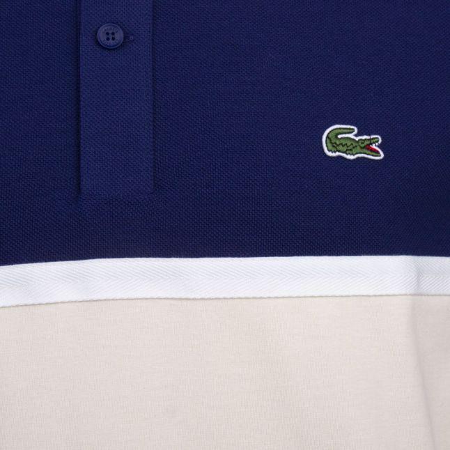 Mens Navy Colour Block S/s Polo Shirt