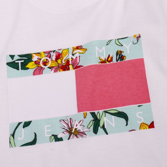 Tommy Jeans Womens White Hawaii Flag S/s T Shirt