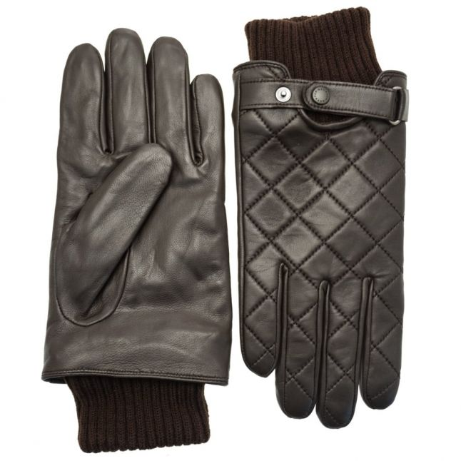 Mens Brown Quilted Leather Gloves