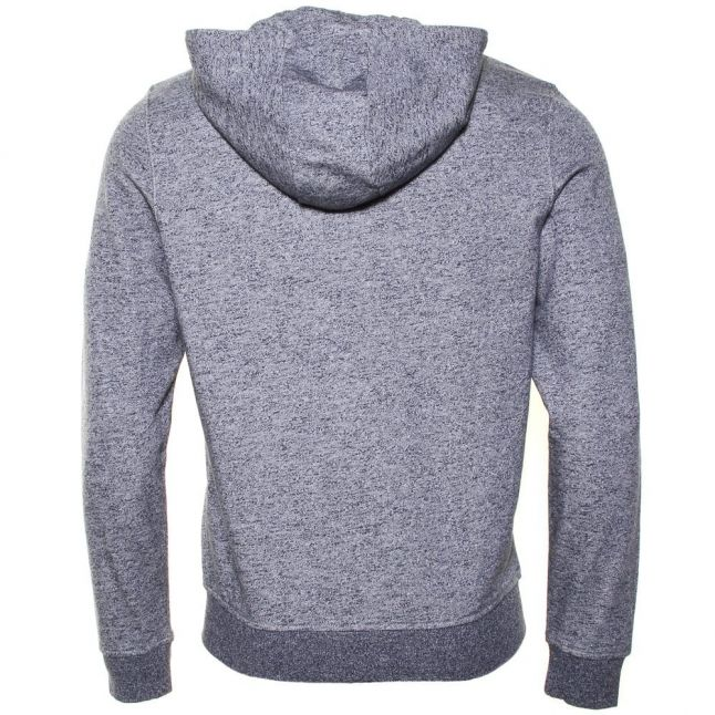 Mens New Navy Marl Zip Hooded Sweat Top