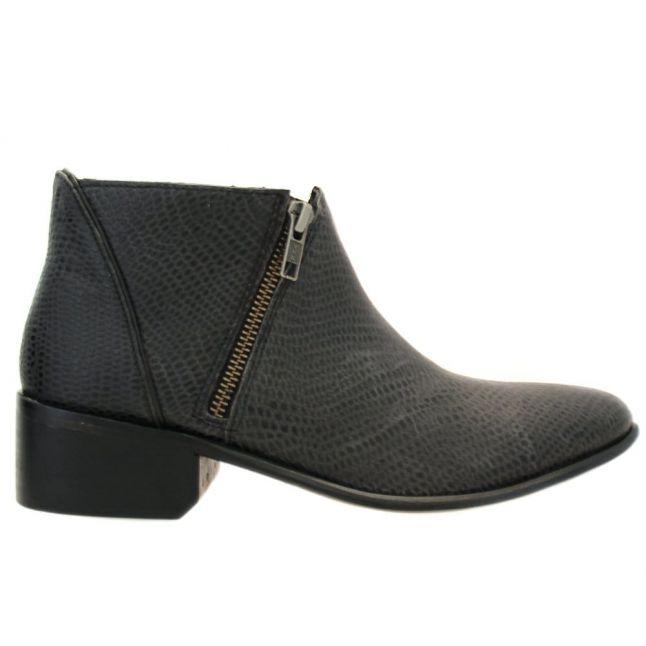 H By Hudson Womens Black Lizard Jilt Ankle Boots
