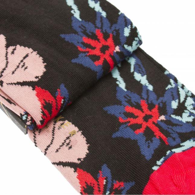 Mens Black Dorral Floral Socks