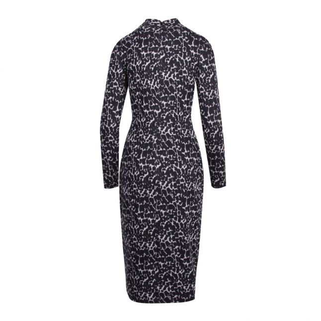 Womens Black Liniee Leopard Bodycon Midi Dress