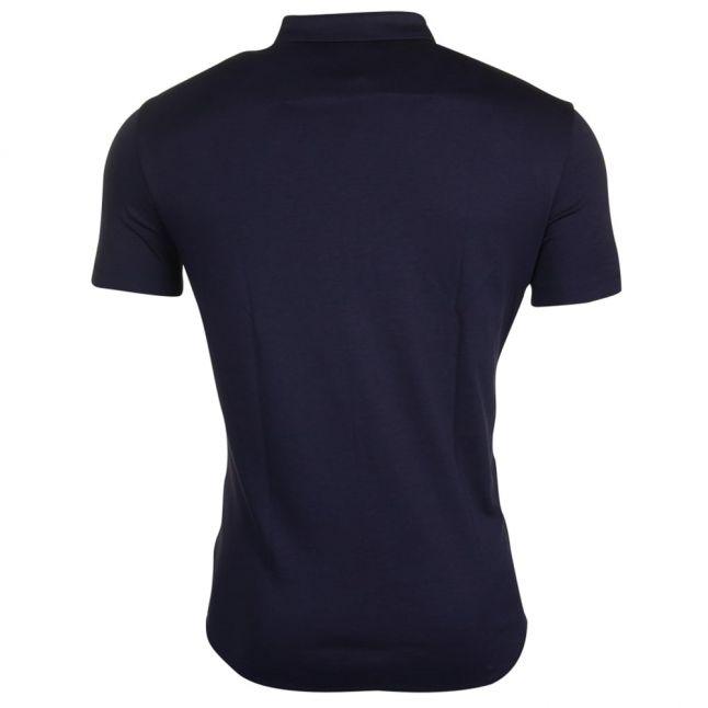 Mens Navy Button Through S/s Polo Shirt