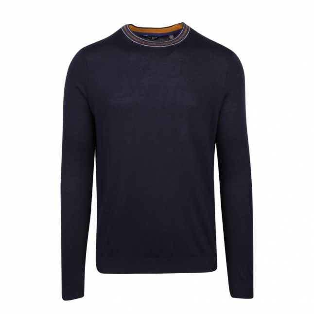 Mens Navy Mailais Crew Neck Knitted Jumper