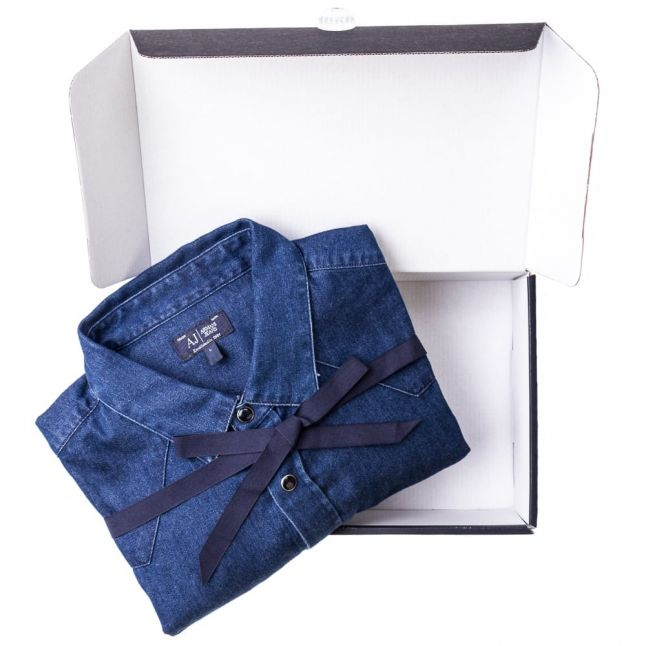 Mens Blue Western Denim L/s Shirt