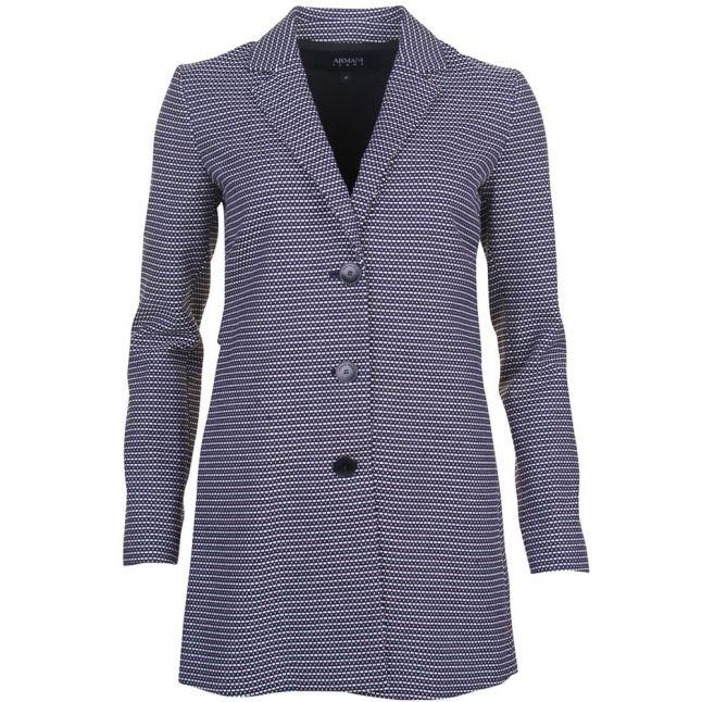 Womens Navy Textured Coat